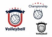 foto of volleyball  - Volleyball club or sporting team emblems with flying volleyball balls - JPG