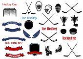 Постер, плакат: Ice hockey and heraldic symbols or items