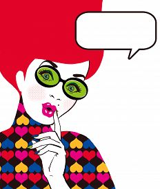 picture of  art  - Pop Art illustration of woman with the speech bubble in glass - JPG