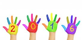 pic of new years baby  - Kids colorful hands forming number 2016 - JPG