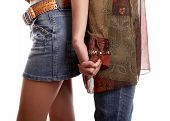 pic of friendship belt  - Handclasp of two girl friends on white background - JPG
