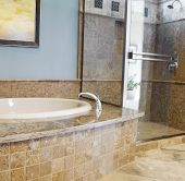Luxury Bath, beautiful granite and marble floor.