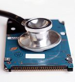 Computer Hard disk drive with stethoscope