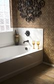 Luxury bathroom with champagne and glasses