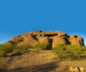 Popular tourist attraction the exposed desert butte at Papago Park between Tempe and Scottsdale,Ariz