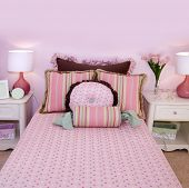 Pink girls bedroom interior