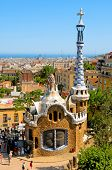 BARCELONA, SPAIN - JUNE 5: The famous Park Guell on June 5, 2010 in Barcelona, Spain. The impressive