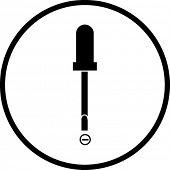 símbolo de destornillador de cabeza plana