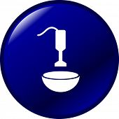 hand blender and bowl mixing button