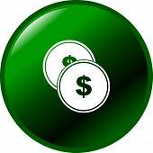 money coins or tokens button
