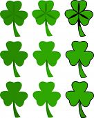 several clovers or shamrocks rendered in different styles