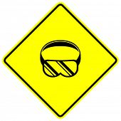 scuba diving or eye protection goggles sign