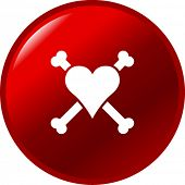 heart with bones button