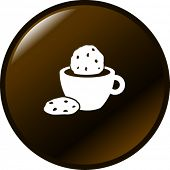 coffee, chocolate or milk and cookies symbol