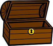 wooden chest open