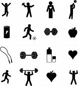 exercise and healthcare symbols set
