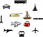 transportation vehicles illustrations and symbols set