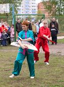 VITEBSK, BELARUS - May 16: Performance of group of oriental combat sports on sports holiday May, 16,