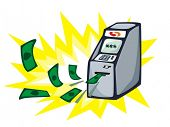 Money stream from ATM - cash machine. Vector illustration.