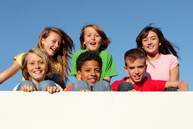 pic of children group  - group of kids holding placard with copy space - JPG