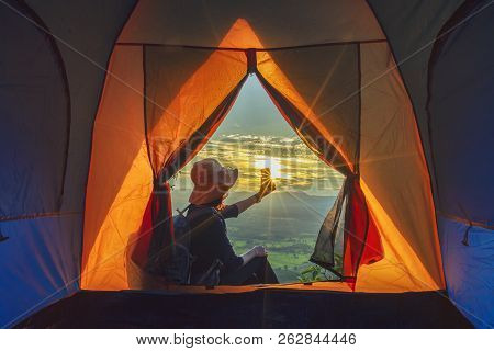 Camping Tent In Campground At