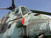 Soviet demobilized troop and assault transport helicopter Mi-4 exhibited at aircraft museum