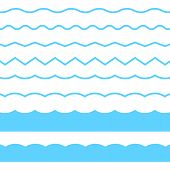 Blue Line Wave Ornament. Vector Blue Wave Icons Set On White Background. Seamless Vector Marine Wave poster