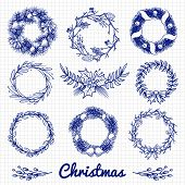 Ballpoint Pen Drawing Christmas Doodle Wreath And Decorative Branches. Vector Christmas Wreath Decor poster