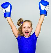 Feminist Movement. Strong Child Proud Winner Boxing Competition. Girl Child Happy Winner With Boxing poster