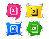 In Pack Sheets Icons. Quantity Per Package Symbols. 2, 5, 10 And 20 Paper Units In The Pack Signs. G poster