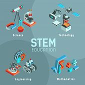 Vector Illustration With Elements Of Stem Education. Science, Technology, Engineering, Mathematics.  poster