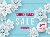 Christmas Sale Banner. 3d Decorative Snowflakes And Label With Text On Blue Dotted Background. Vecto poster
