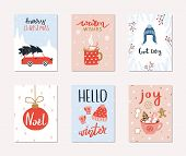 Set Of 6 Merry Christmas And Happy New Year Gift Cards. Collection Of Hand Drawn Holiday Posters Wit poster