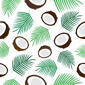 Tropical Coconut Seamless Pattern, Green Palm Leaf And Half Of Coconut Vector Illustration. Coconut  poster