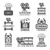 Video Labels Set. Cinema Production Badges In Monochrome Style. Cinema Film Center, Movie And Entert poster