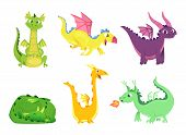 Fantasy Dragons. Cute Reptiles Amphibians And Fairytale Dragons With Big Wings Sharp Tooth Wild Crea poster