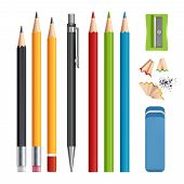 Pencils Set. Stationery Tools Sharpen, Colored Wood Pencils With Rubber Vector Realistic Illustratio poster