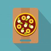 Pizza With Ingredients On The Wooden Board Icon. Flat Illustration Of Pizza With Ingredients On The  poster