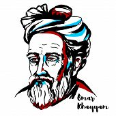 Omar Khayyam Engraved Vector Portrait With Ink Contours. Persian Mathematician, Astronomer, And Poet poster