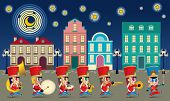 A Marching Cute Brass Band With Various Kind Of Instruments. With Night Time Street Scene. poster