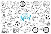 Collection Of Vector Sport Equipment. Doodle Sport Items Illustration. Hand Drawn Sport Balls, Racke poster