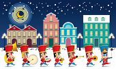 A Marching Cute Brass Band With Various Kind Of Instruments. With Snowing Night Time Street Scene. poster