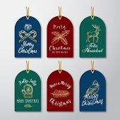 Christmas And New Year Ready-to-use Glitter Gift Gift Tags Or Labels Templates Set. Hand Drawn Reind poster