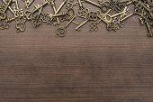 Many Different Vintage Keys. Vintage Keys Concept On Wooden Background. Vintage Keys With Copy Space poster