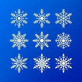 Snowflake Icon Set. White Color Snowflakes Isolated On Blue Background. Winter Christmas Snowflake C poster