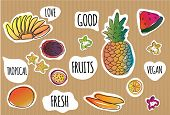 Funny And Cute Tropical Fruit Stickers.  Tropical Summer Fruits Vector Pattern On Colort Background. poster