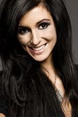 portrait of attractive brunette model with glamor make-up