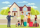 Family Buys House. Broker Passes Key To New Apartments. Business Real Estate Agency Concept. Broker  poster