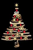 Gold snowflake and star abstract driftwood Christmas tree with red ball bauble decorations isolated  poster