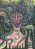 Psychedelic Fairy Shaman. Surreal Fantasy Doodle Woman. poster